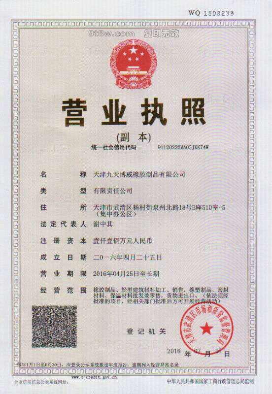天津九天博威乐动体育投注制品有限公司